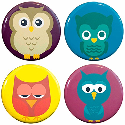 Buttonsmith Owls 1 25 Refrigerator Magnet