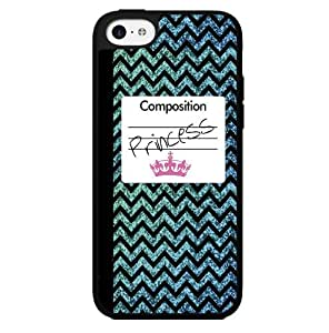 Blue Princess Glitter Chevron Composition Notebook with Pink Crown Hard Snap on Phone Case (iPhone 6 (4.5))