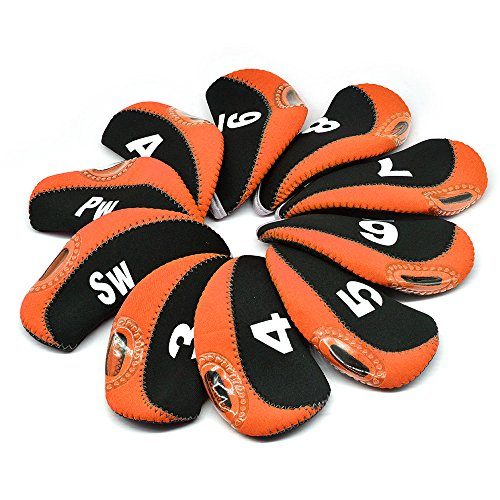 BROTOU Golf Club Head Covers, 3-9 A/SW/PW Elastic Neoprene Material with Number Tag Protect Case for Irons,Fit Most Irons and Wedges-Set of 10pcs(Orange) - Golf Club Putter Cover