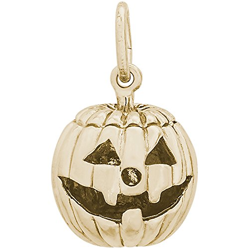 Rembrandt Charms 14K Yellow Gold Jack O Lantern Charm on 14K Yellow Gold Rope Chain Necklace, 16