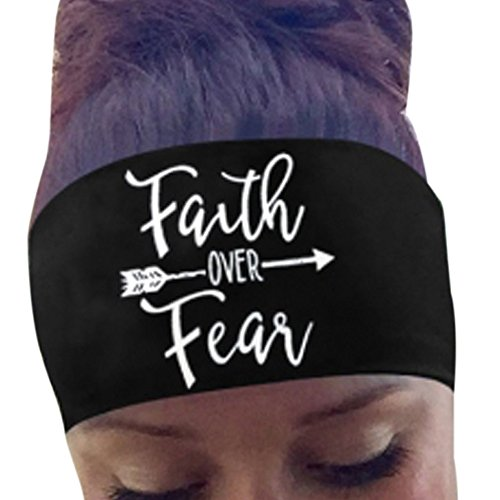 (YOMXL Women's Sports Headband - Faith Over Fear - Letter Printed Head Wear Sweatband for Running Yoga Gym Elastic Hair Band )