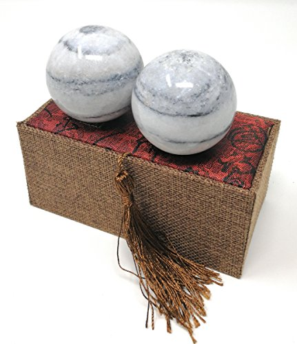 galaxy pattern marble stone chinese healthy exercise massage baoding balls