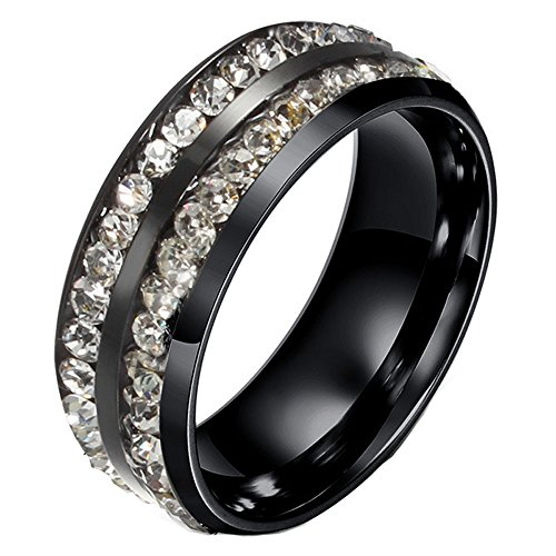 Michelle Women's Stainless Steel Ring 2 Row Cubic Zirconia Eternity Wedding Band Ring,Black with white Diamond,size 7 ()
