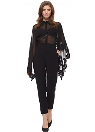 ce6da792b8e8 Party 21 Tailored Jumpsuit With Beaded Sheer Chiffon Blouson Top Black UK  12  Amazon.co.uk  Clothing