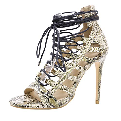 ba1ffb9bb823 GONKOMA Women s Snake Print Fish Lips High Heel Sandals Shoes Cross Strap  Non-Slip Party Shoes Green