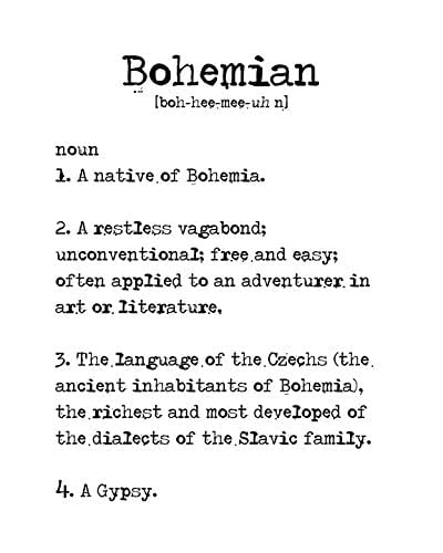 Amazon Bohemian Dictionary Definition Poster Print Home Decor Wall Art Handmade