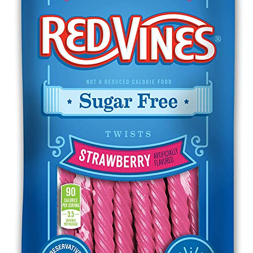 Original Red Twists Licorice - Red Vines Sugar Free Licorice, Strawberry Flavor, 5oz Bags (12 Pack), Soft & Chewy Candy Twists