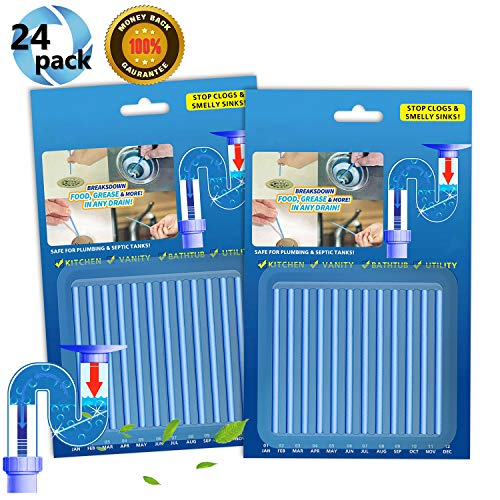 Drain Cleaner Sticks,Clean Batonnet Deodorizer Package, Non-Toxic for Kitchen Bathroom Sinks Septic Tank Safe,24 Pack. As Seen on TV Keeps Drains Pipes Clear(Blue)