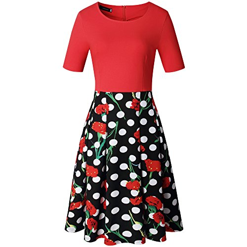 Casual Party Women's Floral Patchwork Pockets Puffy Vintage 7 Caracilia Work Swing Dress Bwqfw