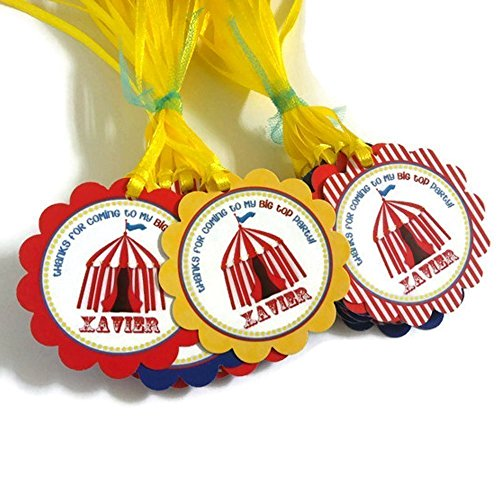 Personalized Carnival Circus Favor Tags for Kids Birthday Party - Set of 48 by Adore By Nat