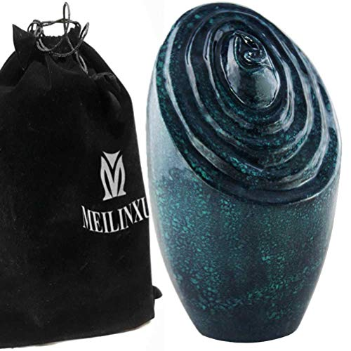Oxide Lacquer - Unique Funeral Urns for Adults Ashes, Cremation Urn for Human Ashes-Memorials Urns for Ashes -Display Burial Urn at Home or in Niche at Columbarium (Vortex - Passage to Paradise, Oxide Green Large Urn