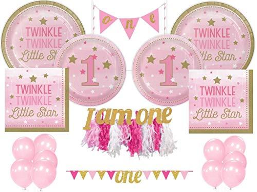 Girls 1st Birthday Twinkle Twinkle Little Star Tableware