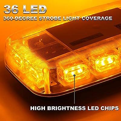 VKGAT 36 LED Roof Top Strobe Lights, Emergency Hazard Warning Safety Flashing Strobe Light Bar for Truck Car, Waterproof and Magnetic Mount 12-24V (Amber): Automotive