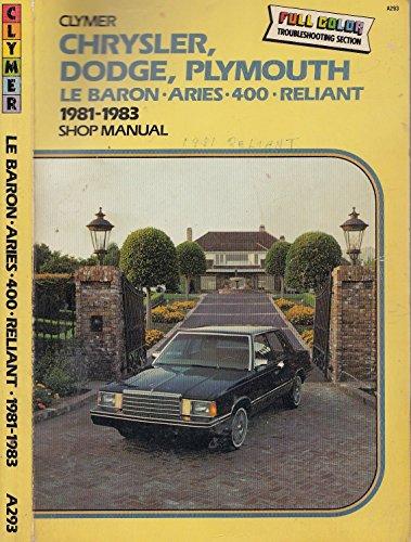 (Chrysler Dodge Plymouth: Lebaron, Aries, 400 Reliant 1981 1987)