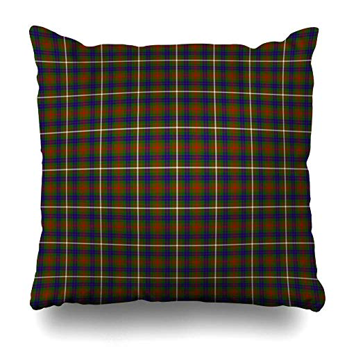 Throw Pillow Covers Classic Blue Tartan Patterned Clan Fraser Hunting Abstract Brown Ancient Celtic Checkered Christmas Home Decor Pillow Case Square Size 18 x 18 Inches Zippered Pillowcase ()