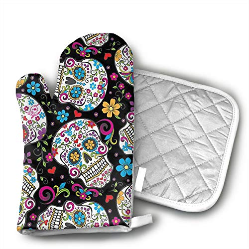 TRENDCAT Flower Sugar Skull Oven Mitts and Potholders (2-Piece Sets) - Extra Long Professional Heat Resistant Pot Holder & Baking Gloves - Food Safe