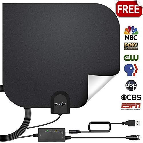 ([2019 Newest] TV Antenna, Double-Sided Digital Indoor HDTV Amplified Antennas 120+ Miles Range with Smart Switch Amplifier Signal Booster, Free Local Channels 4K HD 1080P VHF UHF All TV's - 17ft Cable)