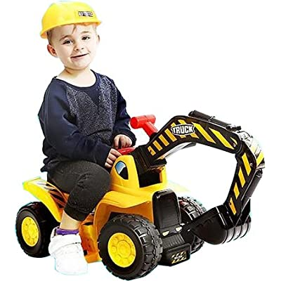 Play22 Toy Tractors for Kids Ride On Excavator - Music Sounds Digger Scooter Tractor Toys Bulldozer Includes Helmet with Rocks - Ride on Tractor Pretend Play - Toddler Tractor Construction Truck: Toys & Games