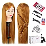 Mannequin Head with Hair, TopDirect 24 Inch Long Hair Mannequin Manikin Head Hair Practice Cosmetology Hair Doll Head Styling Hairdressing Training Braiding Heads with Clamp Holder and Tools
