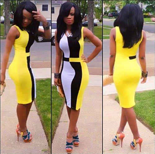 Sexy Bodycon Dress 2015 Stylish Elegant Women's dress gown CLUBWEAR OL commuter Fashion Uniform Jumpsuits US 2 4 6 8 (Yellow, S(US 2-4))