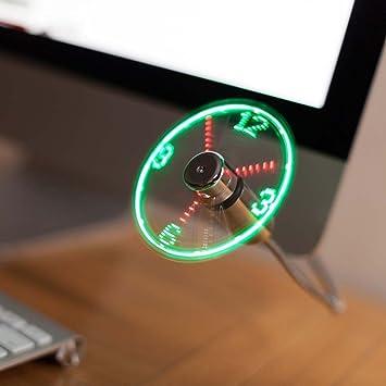 JUBLUN Ventilador USB, Nuevo Ventilador Reloj de Luces LED para PC, Portátil, Escritorio, Cuello de Cisne Flexible, Colorido Ventilador de Refrigeración: ...