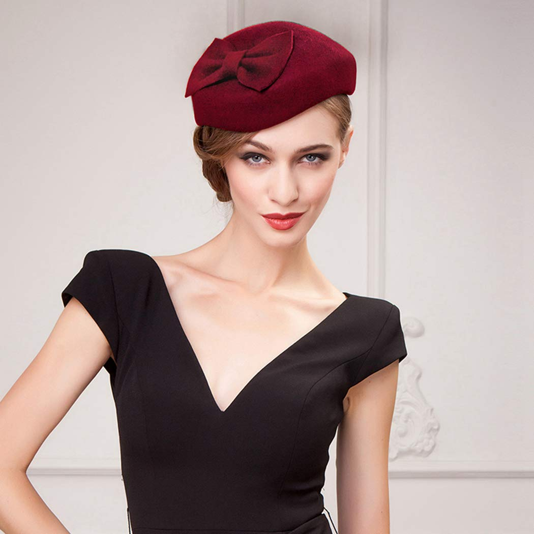 Nafanio Women Fascinators Hats Autumn and Winter England Small Bow Woolen Headpiece Black Retro Wool Beret for Tea Party