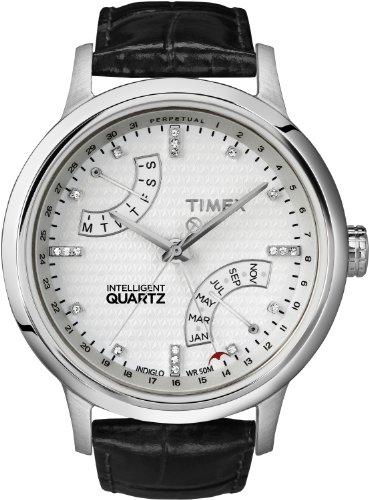 Timex Women's T2N570 Intelligent Quartz T Series Perpetual Calendar White Dial Black Croco Leather Strap Watch