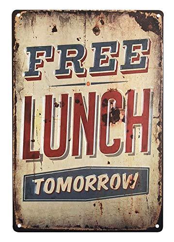 UNIQUELOVER Free Lunch Tomorrow,Retro Vintage Metal Tin Signs Pub Bar Decor