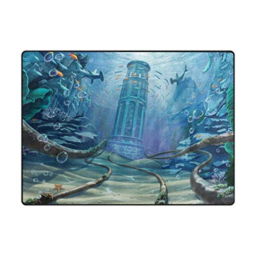 Underwater World Printing Doormat Indoor Door Mats Rugs Non Slip Carpets for Bedroom Kids Playing Room Living Room Kitchen Rugs 23.6x15.7 inch