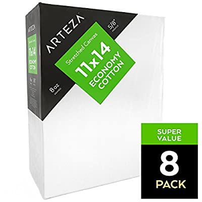 "Arteza 11x14"" Stretched White Blank Canvas, Bulk Pack of 8, Primed, 100% Cotton for Painting, Acrylic Pouring, Oil Paint & Wet Art Media"