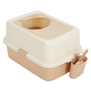 Gfbyq Arena para Gatos Caja de Basura incorporada Grande y Completamente Cerrada para Evitar Salpicaduras Desodorante de una Sola Capa (Color : A): ...