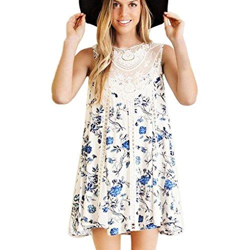 Bolayu Beach Dress Women Casual Chiffon Lace Splice Floral Printed Dress (XL, (Type Costume Kaftan)