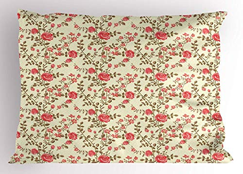 K0k2t0 Rose Pillow Sham, Rustic Pattern with Floral Stems Old Fashion Design Classical Feminine, Decorative Standard Queen Size Printed Pillowcase, 30 X 20 inches, Dark Coral Pale Yellow Tan