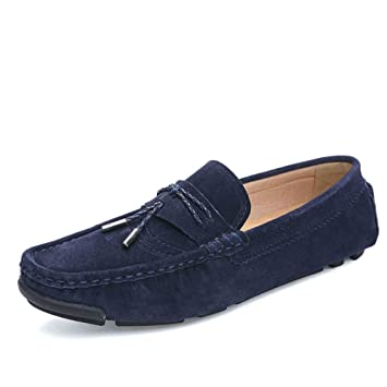 87e7e9bf5d6 Image Unavailable. Image not available for. Color  HEmei Men s Soft Suede  Driving Loafers Shoes Business Casual Loafers   Slip-Ons