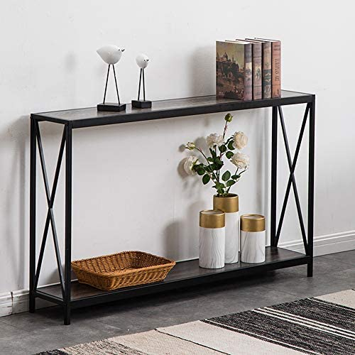 Henf 2-Tier Porch Table Sofa Side Console Table with Shelf, X-Design Narrow Accent Entryway Table for Hallway Living Room Bedroom Balcony Gray