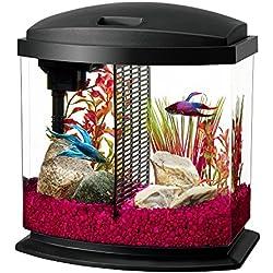 Aqueon LED BettaBow Aquarium Starter Kits LED Lighting, 2.5 Gallon Betta, Black