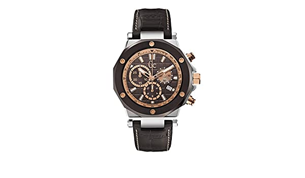 Amazon.com: GC Mens Gc-3 43mm Brown Leather Band Steel Case Sapphire Crystal Quartz Analog Watch X72018G4S: GC: Watches