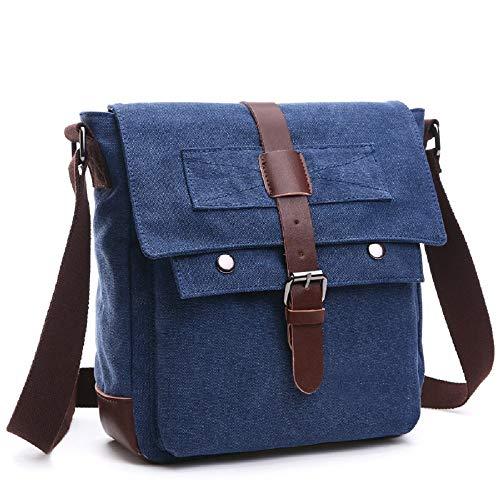 ZHRUI Bolso Hombre Mensajero Bolso Vintage Bolso de Ordenador Mensajero Bolso para Azul Premium de de práctico Hombres Mensajero Lienzo Hombro Bolso portátil de de Bolso de 878nvrwqx