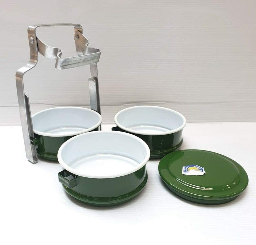 Thai Enamel Lunch Box Food Carrier Container Pinto Bento Enamelware