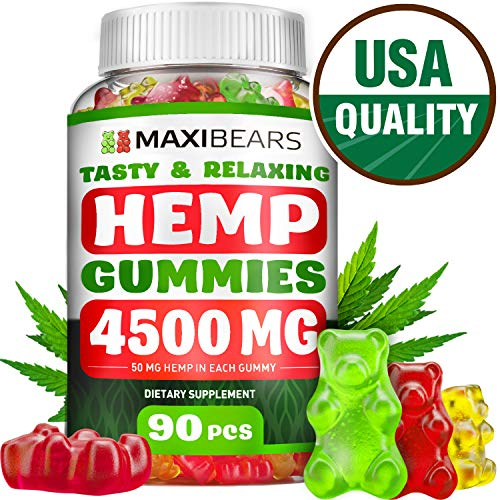 Omega 3, 6 & 9 Gummies for Stress Relief - 50 MG per Gummy, 90 count - Pain, Insomnia & Anxiety Management - Made in USA - Tasty & Relaxing Herbal Gummies - Premium Extract - Mood & Immune Support ()
