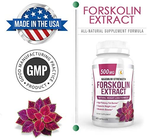 PREMIUM FORSKOLIN EXTRACT, 500mg - 60 Capsules w/ 20% Standardized Forskolin, Non-GMO & Gluten Free, Appetite Suppressant, MAX Strength Belly Fat Burner, Carb Blocker, Weight Loss Supplement. USA Made 3