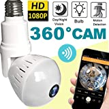 2018 Upgrade Bulb WiFi IP Camera Wireless Fisheye Spy Hidden Cameras 360 Panoramic for Home Security System Baby Nanny Pet Indoor with Night Vision Motion Detection Alarm-Smartphone Smart Home Gifts