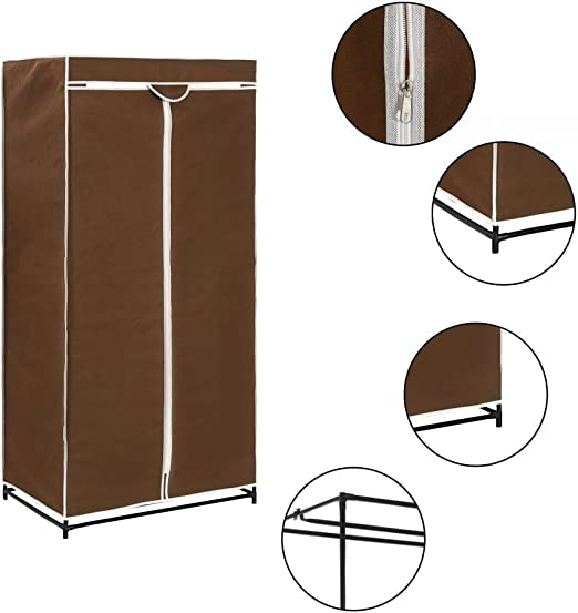 yorten Armario de Ropa con Cremalleras Ropa Organizador Marrón Tela y Tubo Metal Resistente 75x50x160 cm: Amazon.es: Hogar
