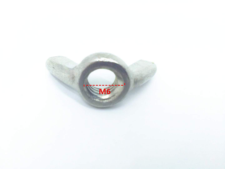 XLY 20Pcs M6 x 11mm Thread Zinc Plated Steel Nuts Wing Nut Silver Tone