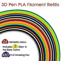 3D Pen Filament Refills PLA 24 Colors, 20 Feet Each, Includes 3 Glow in The Dark Colors - Rimba Fun 3D Printing Pen Filament 1.75mm Total 480 Feet by Rimba
