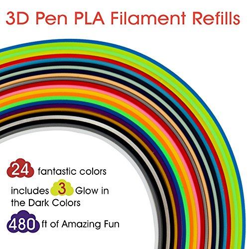3D Pen Filament Refills PLA 24 Colors, 20 Feet Each, Includes 3 Glow in The Dark Colors - Rimba Fun 3D Printing Pen Filament 1.75mm Total 480 Feet