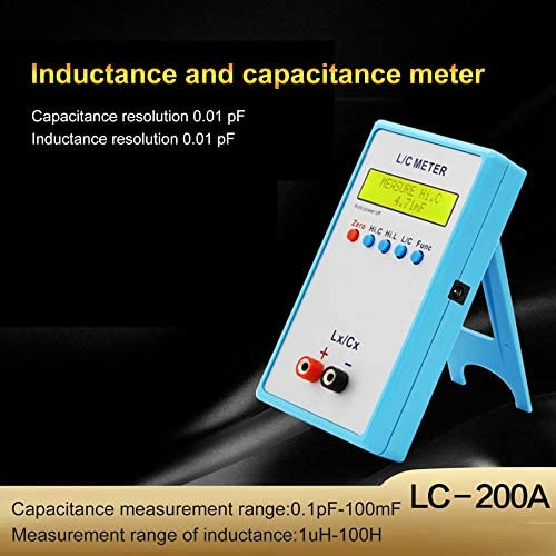 Oddalsail-US Digital LCD Capacitance LC Meter LC200A Inductive Inductance Tester Inductor Capacitor Table 1pF-100mF 1uH-100H with Test Clip Blue