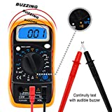 Sinduc Digital Voltmeter Ammeter Ohmmeter Multimeter AC DC with 2 Test Cables Black + Yellow