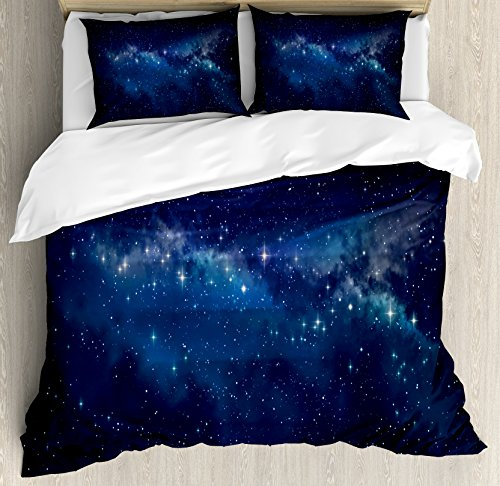 Lunarable Star Duvet Cover Set, Deep in The Mysterious Space Theme Dark Blue Midnight Sky Celestial Inspirational, Decorative 3 Piece Bedding Set with 2 Pillow Shams, Queen Size, Indigo Blue