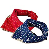 Elisona-2 PCS 2 Colors Large Fashion Pet Dog Cat Bandana Bibs Triangle Head Scarf Accessories Neckerchief Dual-side Use Blue + Red